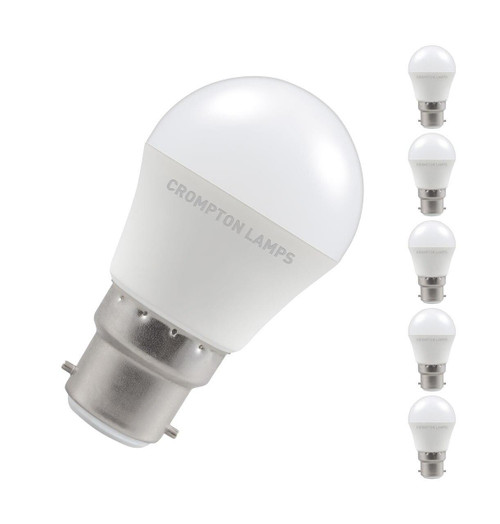 Crompton Lamps LED Golfball 5W B22 Dimmable (5 Pack) Warm White Opal (40W Eqv) Image 1