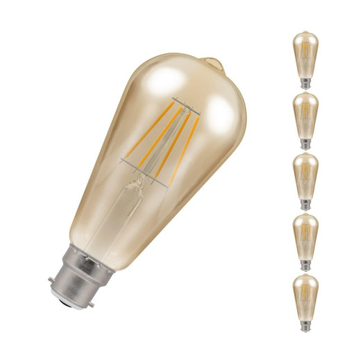 Crompton LED Squirrel Cage ST64 B22 5W Dim 2200K Antique 4221 Image 1