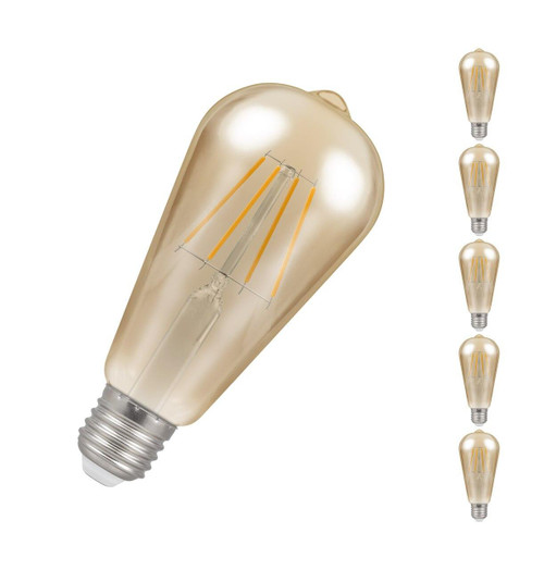 Crompton LED Squirrel Cage ST64 E27 7.5W Dim 2200K Antique 4252 Image  1