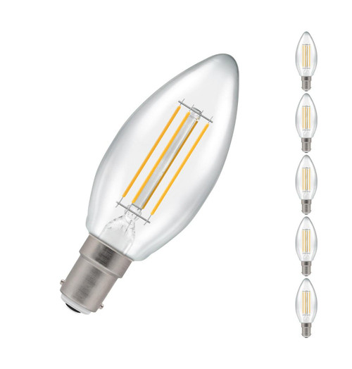 Crompton Lamps LED Candle 5W B15 Dimmable Filament (5 Pack) Warm White Clear (40W Eqv) 7147 Image 1