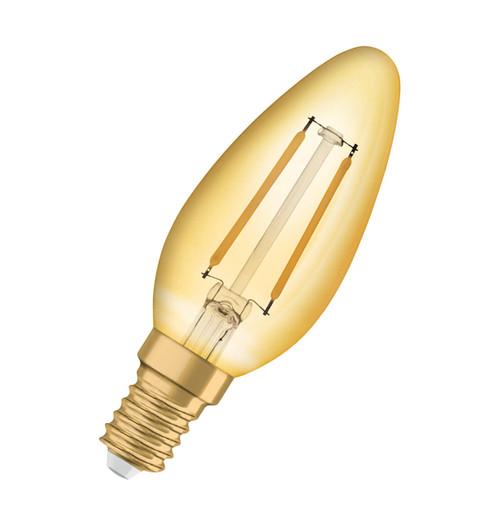 Osram LED Filament Candle 2.5W E14 Vintage 1906 Extra Warm White Gold Image 1