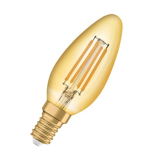 Osram LED Filament Candle 4W E14 Vintage 1906 Extra Warm White Gold Image 1
