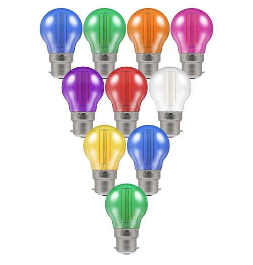 Crompton Lamps LED Festoon Golfball 4.5W B22 Harlequin (10 Pack) Mixed Translucent