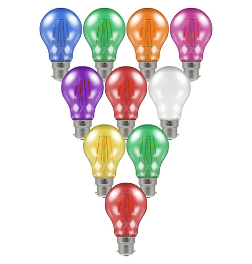 Crompton Lamps LED Festoon GLS 4.5W B22 Harlequin (10 Pack) Mixed Translucent