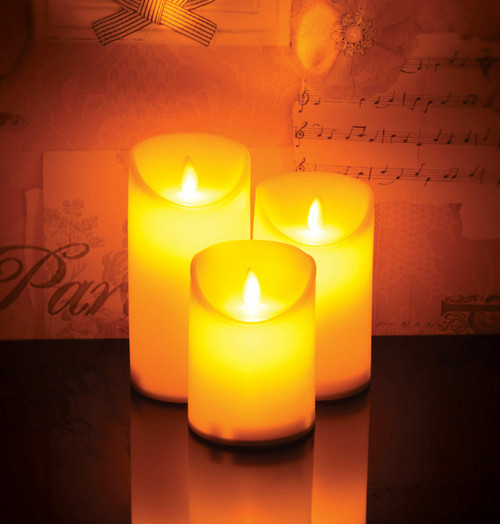Lyyt Set of 3 Battery Operated LED Pillar Candles With Remote Control Image 1