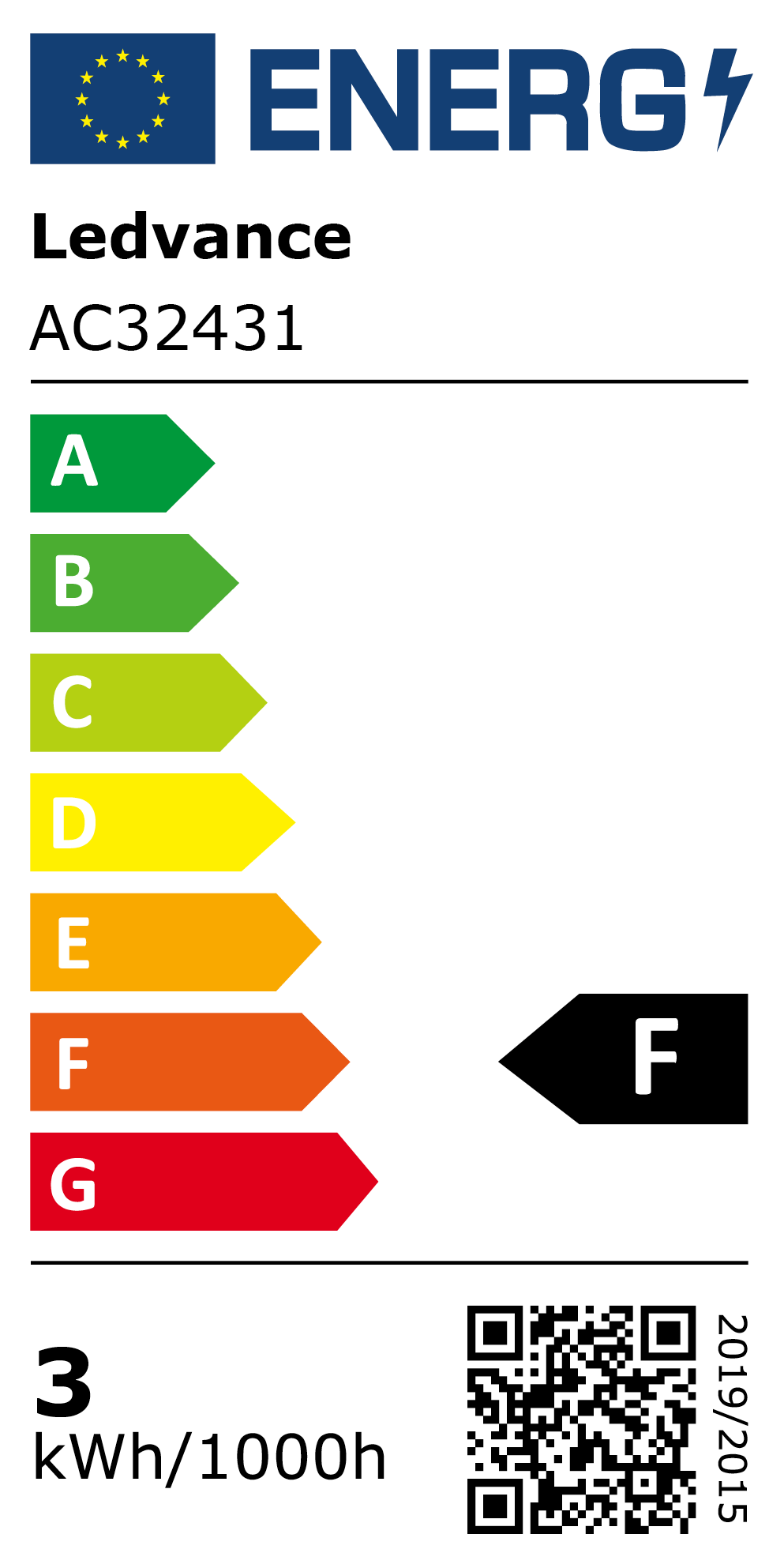 New 2021 Energy Rating Label: MPN AC32431