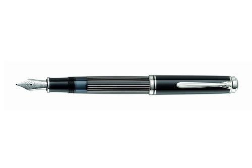 Pelikan Souveran M815 Metal Striped Special Edition Fountain Pen with cap posted