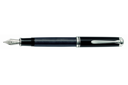 Pelikan Souveran M805 Stresemann Anthracite Fountain Pen with cap posted