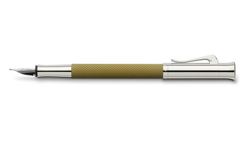 graf-von-faber-castell-guilloche-olive-green-fountain-pen-cap-posted