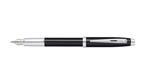 sheaffer-100-glossy-black-lacquer-fountain-pen-cap-posted