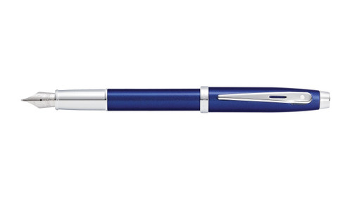 sheaffer-100-glossy-blue-lacquer-chrome-trim-fountain-pen-cap-posted