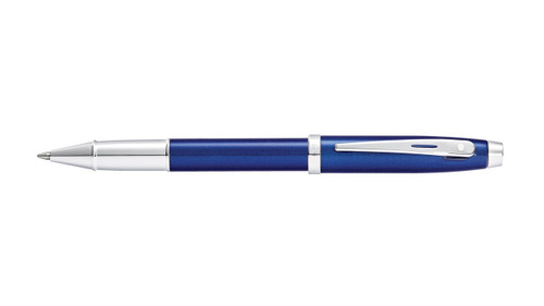 sheaffer-100-glossy-blue-lacquer-chrome-trim-rollerball-pen-cap-posted