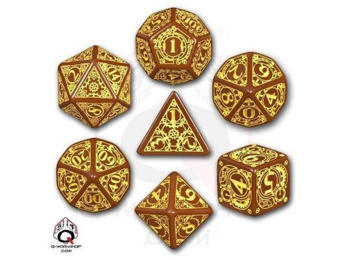 Steampunk Brown/Yellow Dice