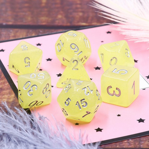 Translucent Glitter Yellow Dice