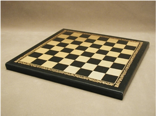 Faux Leather Chess Brd Blk/Gold