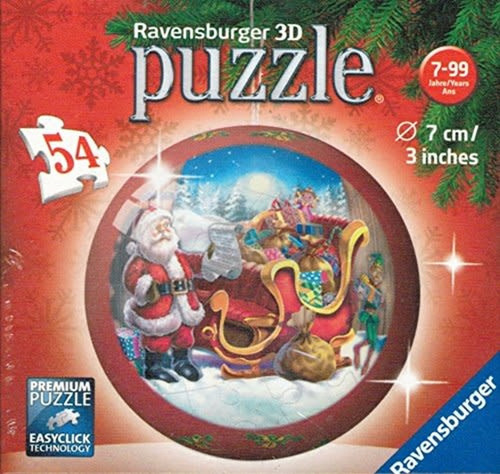 Santa with Sleigh 3d Puzzle Ornament