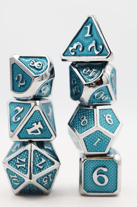 Aquamarine Mesh RPG Dice Set