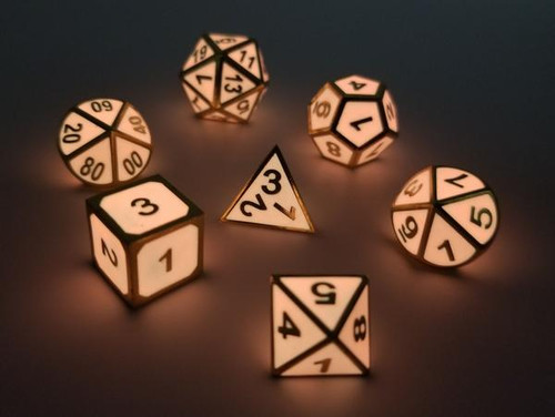 Pink Glow in the Dark with Gold RPG Dice Set