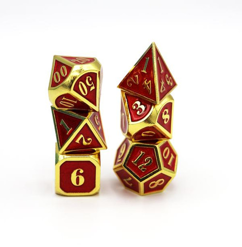 Gold with Ruby RPG Dice Set