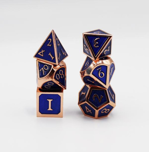 Copper with Sapphire RPG Dice Set