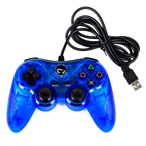 PS3 Controller Wired Clear Blue