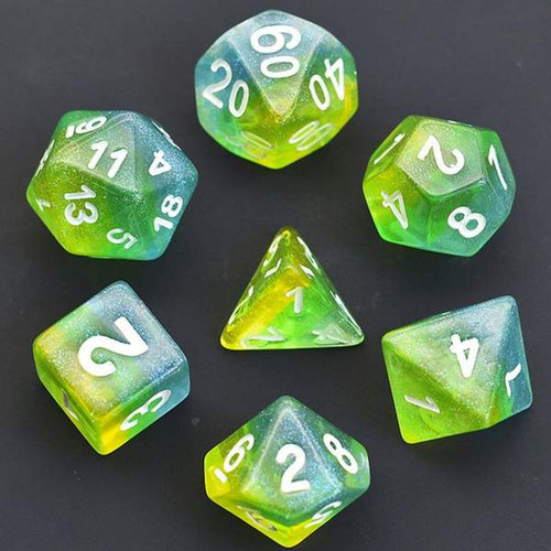 Blue, Green & Yellow Shimmer Layer RPG Dice
