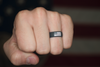 Groove America Silicone Ring - Deep Stone Grey with White Flag