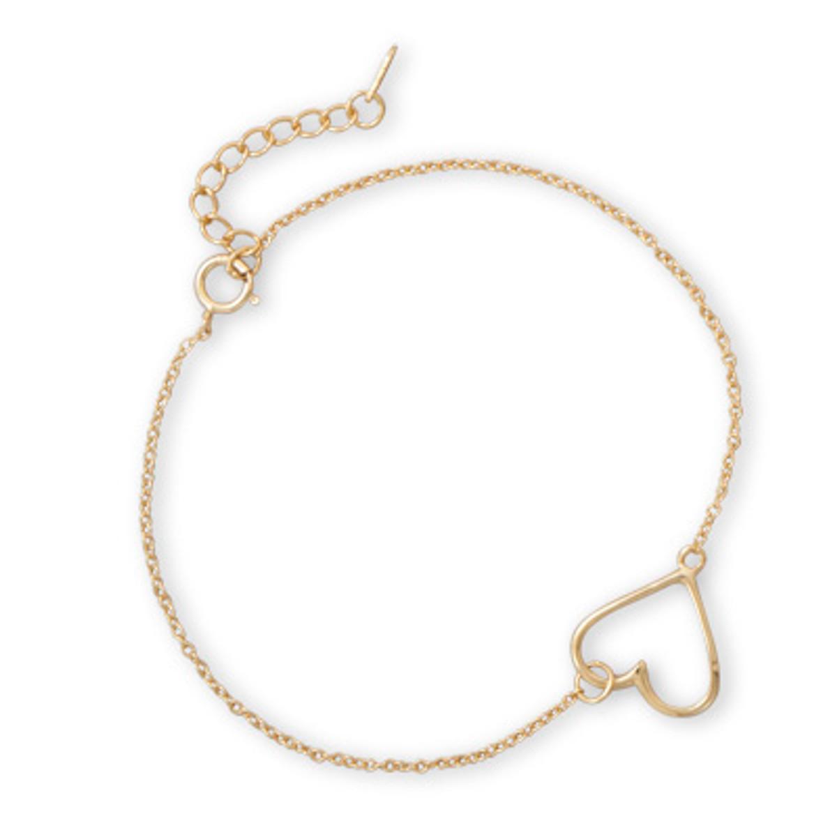 14 Karat Gold Plated Sideways Heart Bracelet