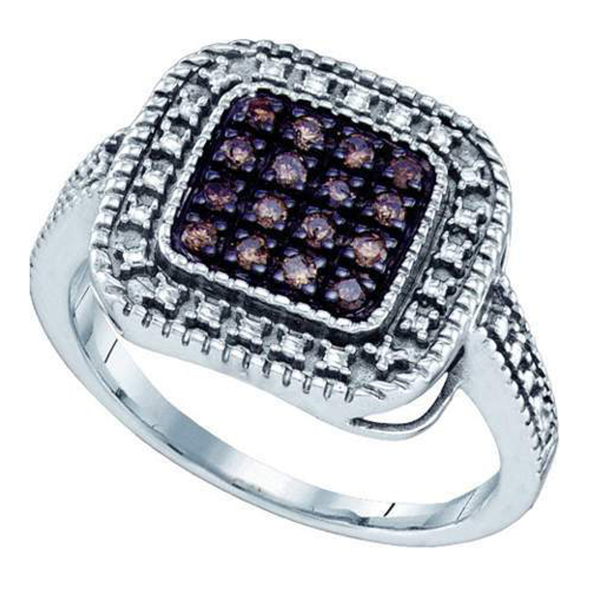 0.19CTW COGNAC DIAMOND MICRO PAVE RING