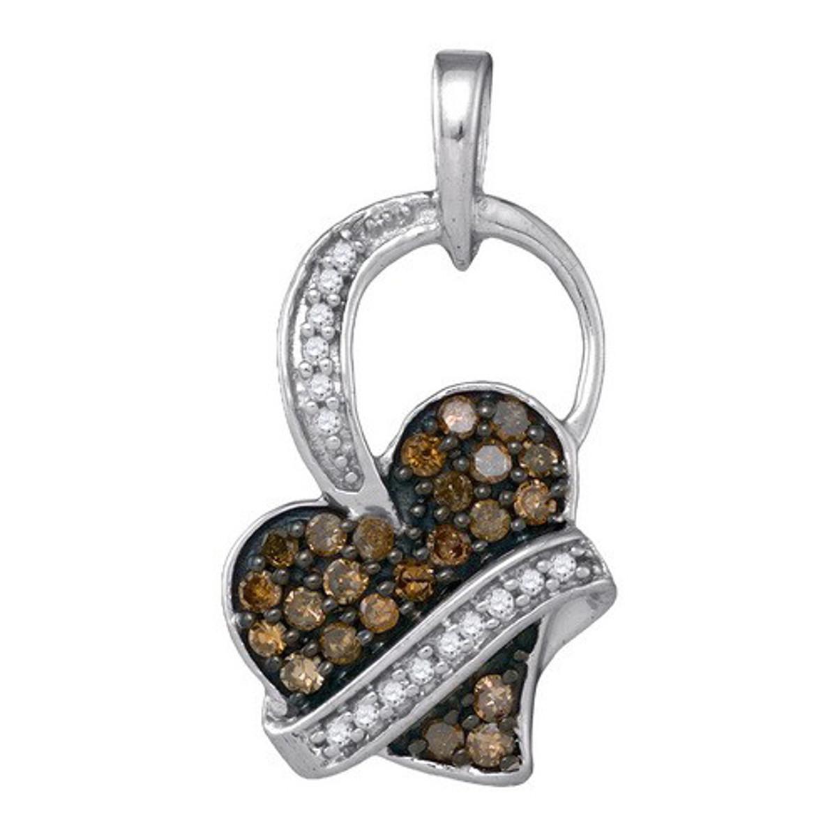 0.33CTW COGNAC DIAMOND HEART PENDANT