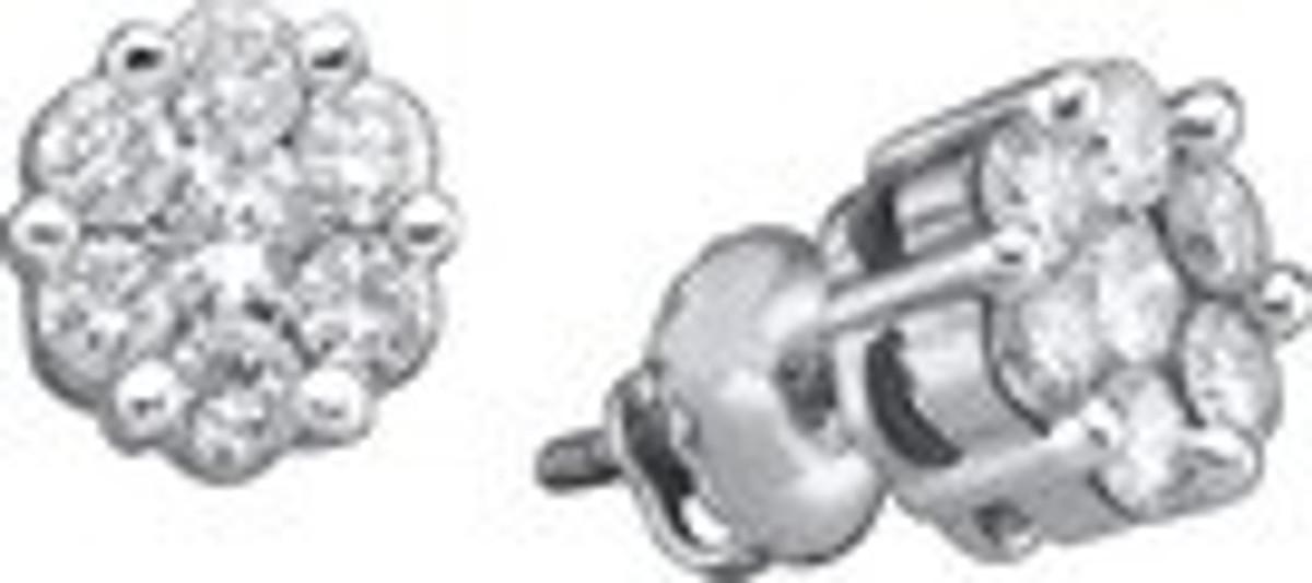 1.00CTW ROUND DIAMOND FLOWER LADIES EARRINGS