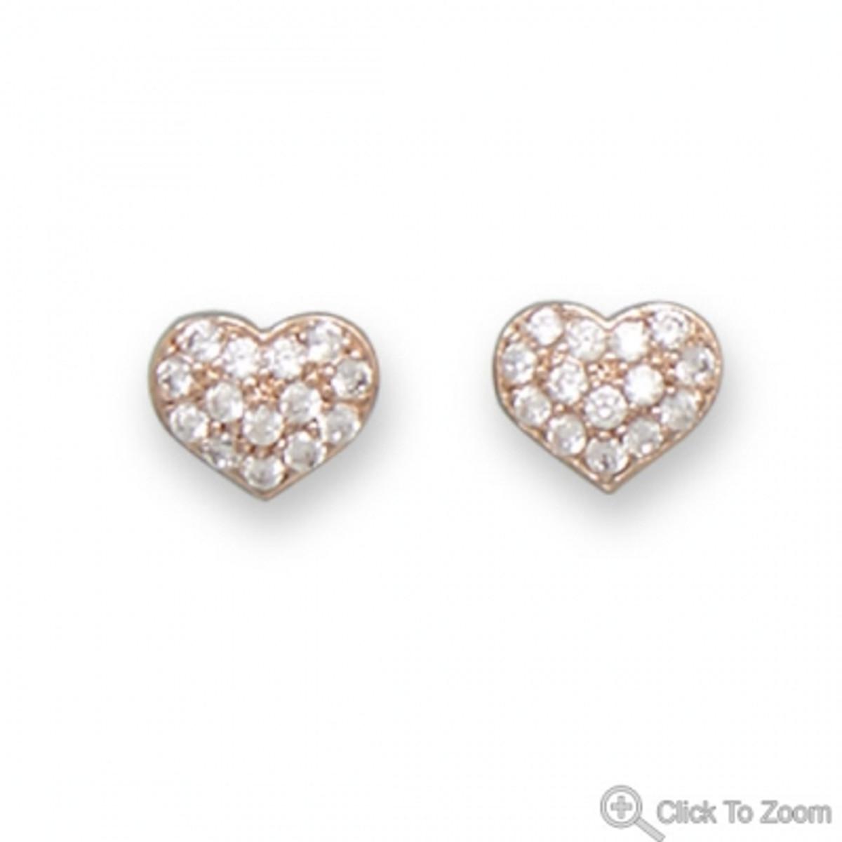 14 Karat Rose Gold Plated CZ Heart Earrings