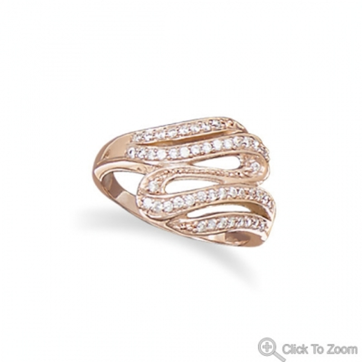 14 Karat Rose Gold Plated CZ Wave Ring