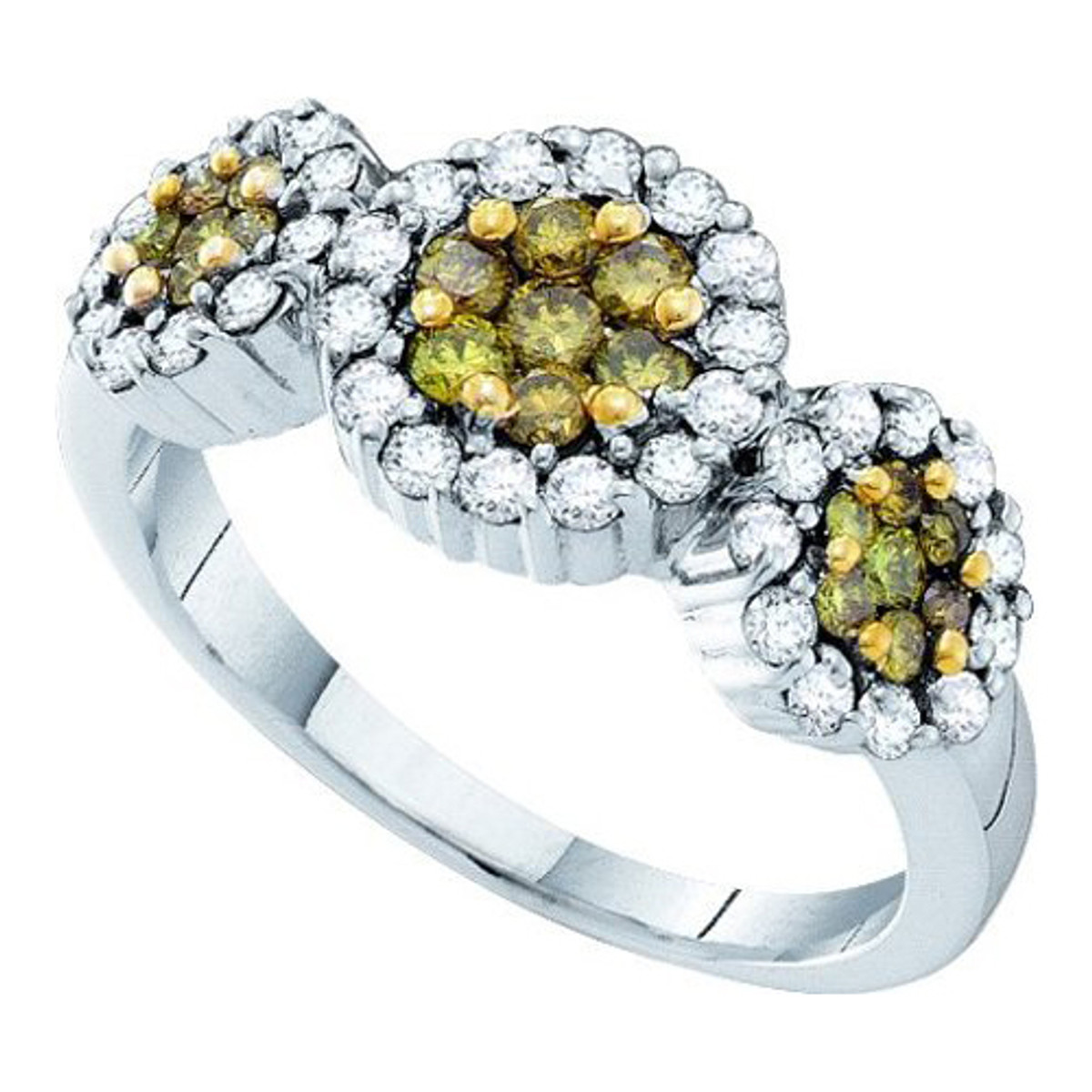 1.00CTW ROUND YELLOW DIAMOND LADIES FLOWER RING