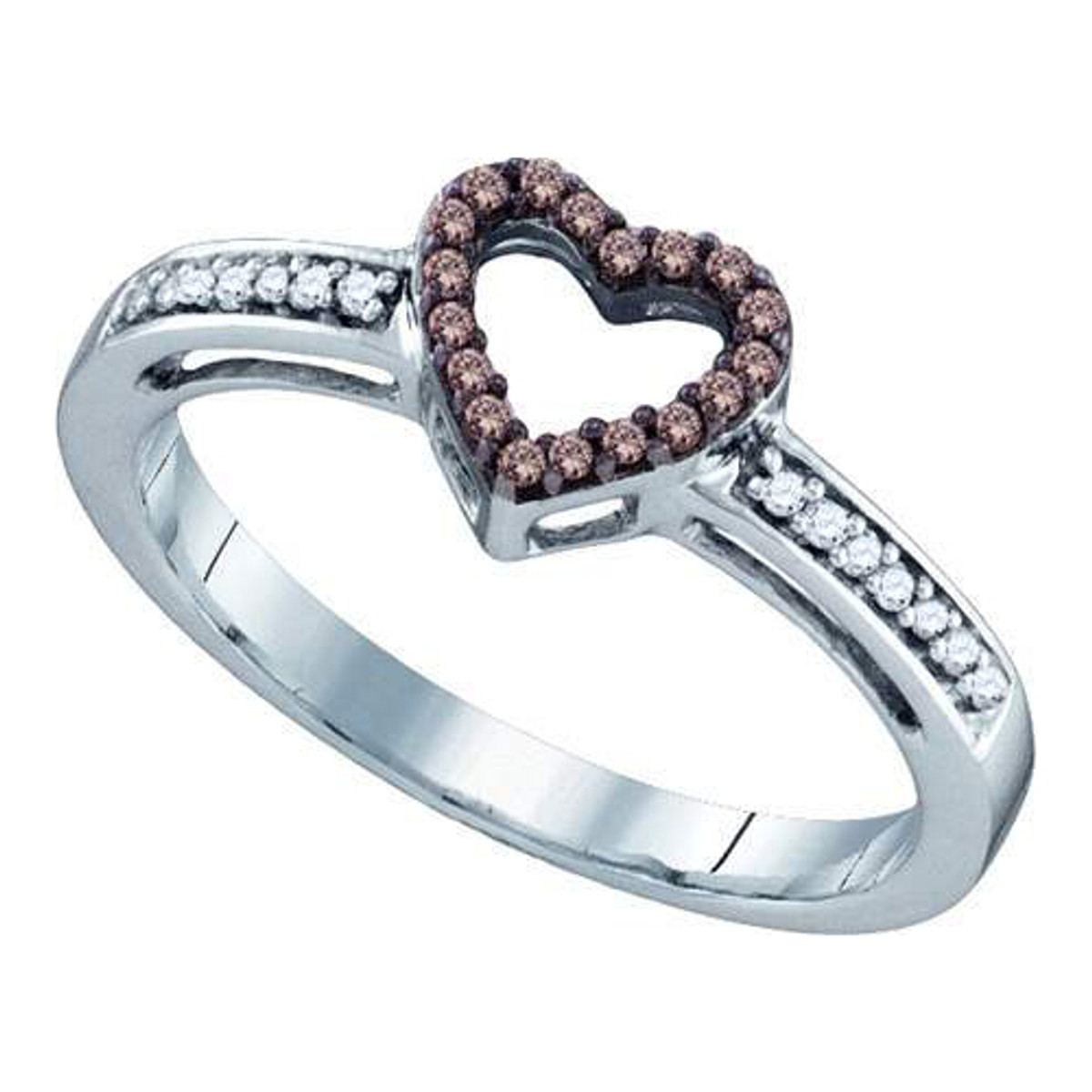 0.12CTW COGNAC DIAMOND LADIES HEART RING