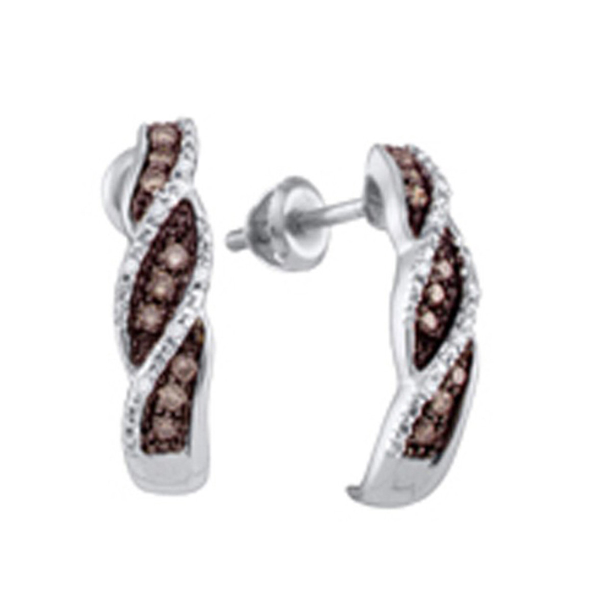 0.21CTW COGNAC DIAMOND FASHION HOOPS