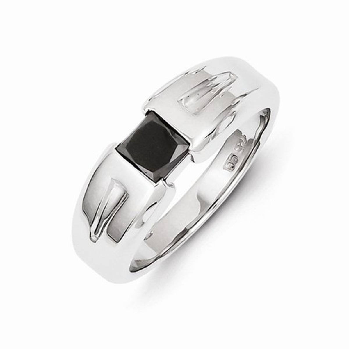 14k White  Gold Black Diamond Mens Ring