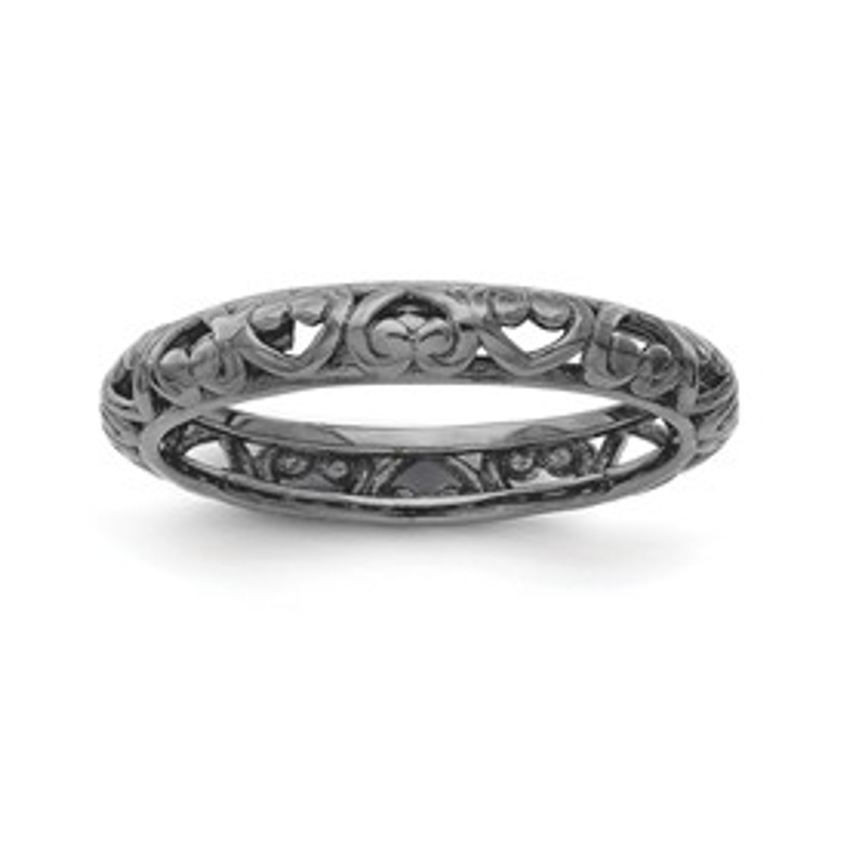 Sterling Silver Stackable Expressions Black-plated Carved Ring