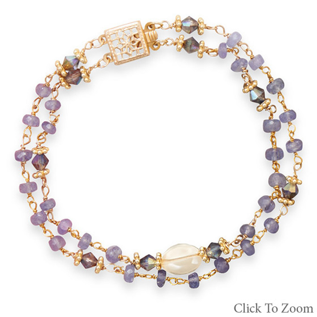 Bracelet beads citrine and pretty silver plated clasp