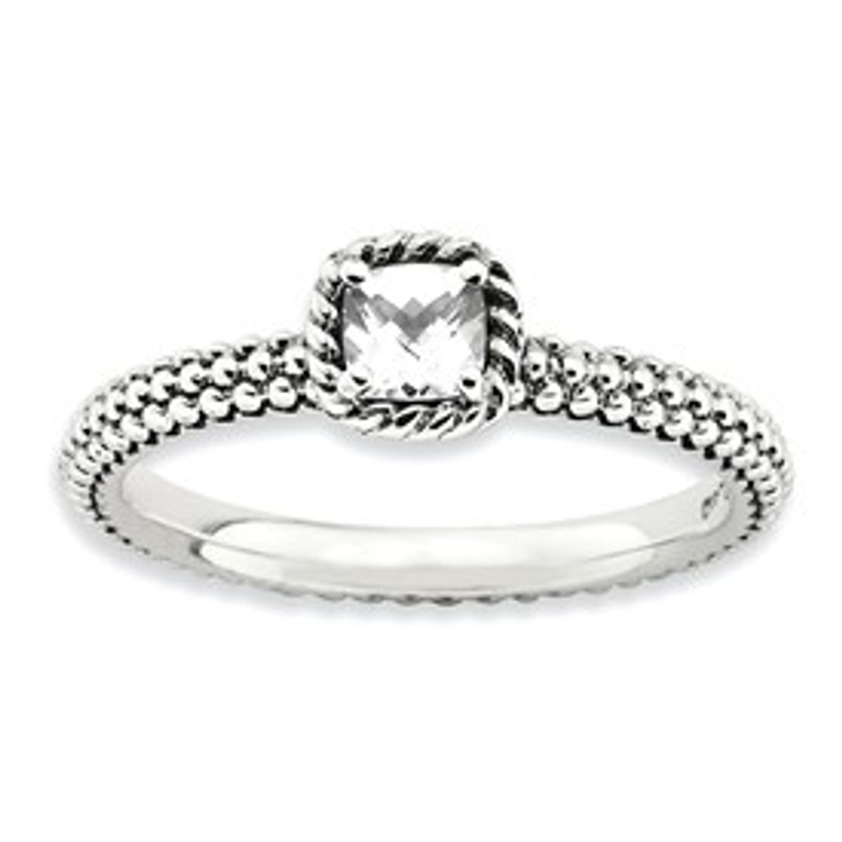 Stackable Expressions Sterling Silver Checker-cut White Topaz Antiqued Ring