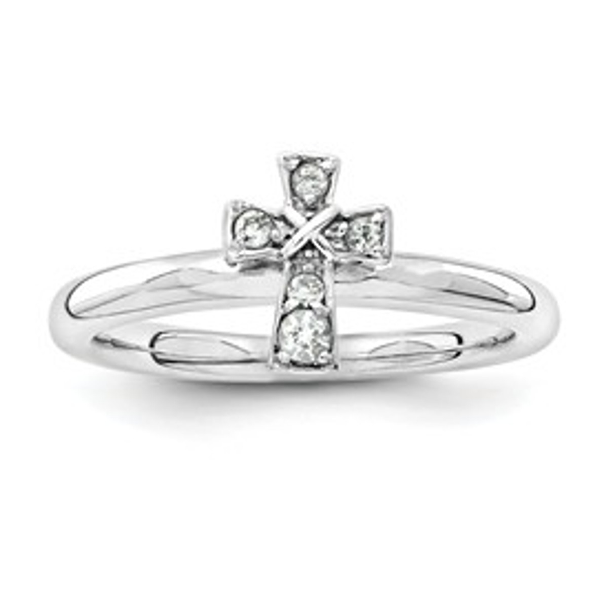 Sterling Silver Stackable Expressions Rhodium White Topaz Cross Ring