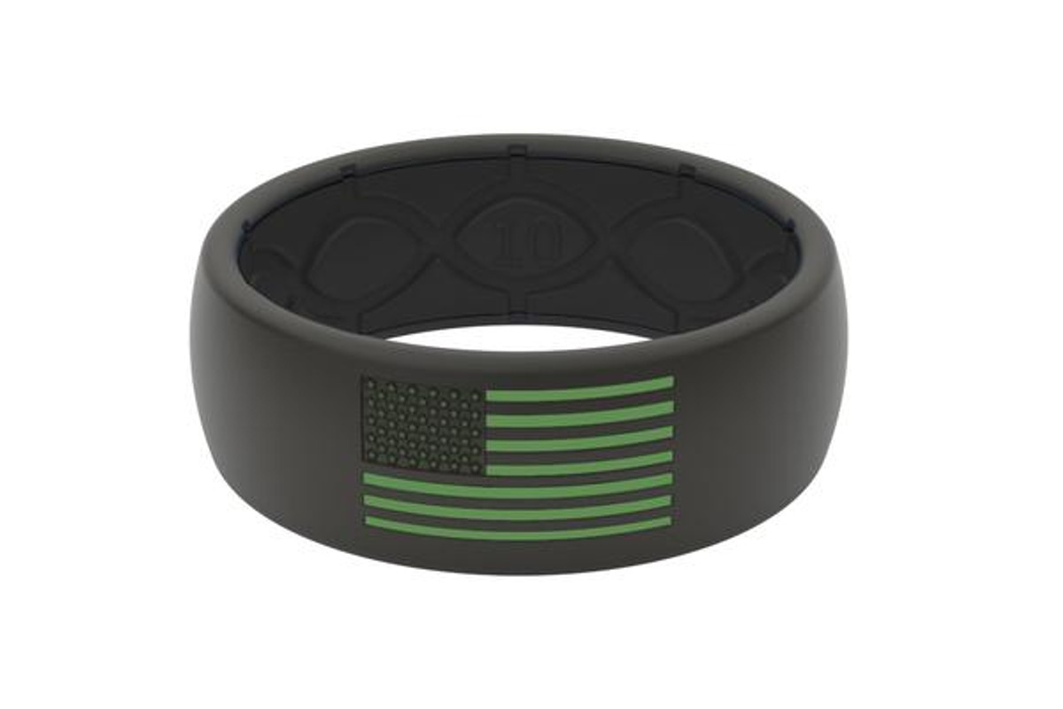 Groove America Silicone Ring - Black/Black with Green Flag