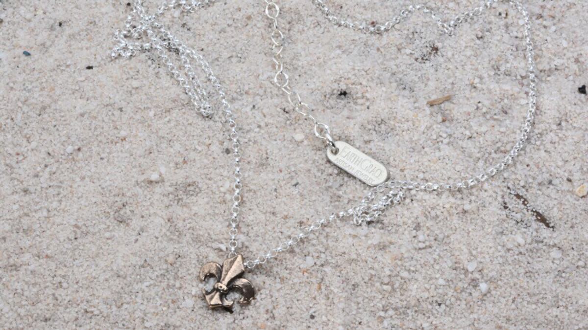 Earth Grace Tiny Fleur de Lis Necklace