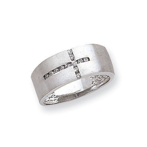 10k White Gold .25ct Diamond Mens Cross Ring