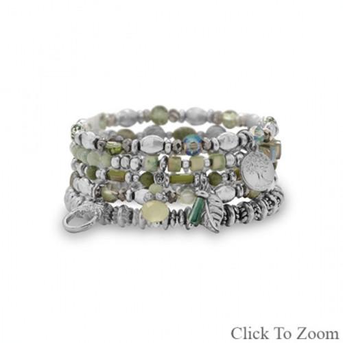 Set of 5 Silver Tone Green Bead Multicharm Fashion Stretch Bracelets