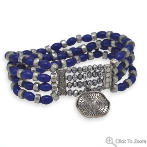 Four Strand Blue Glass Bead Fashion Stretch Bracelet