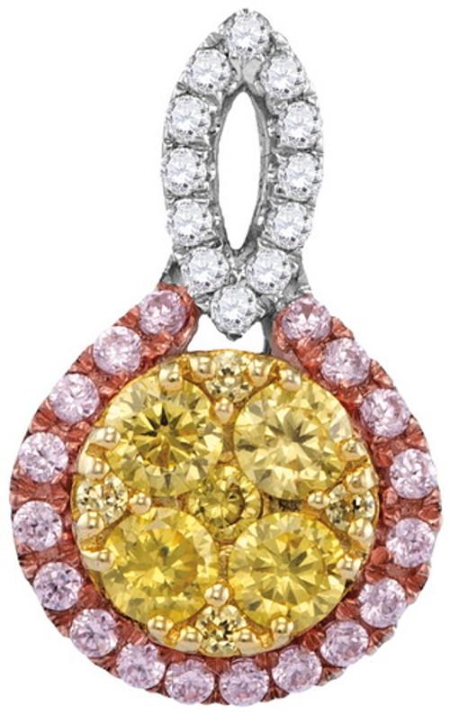 0.86CTW NATURAL YELLOW DIAMOND FASHION PENDANT