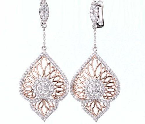 Grace & Lace: Rose & White Earrings