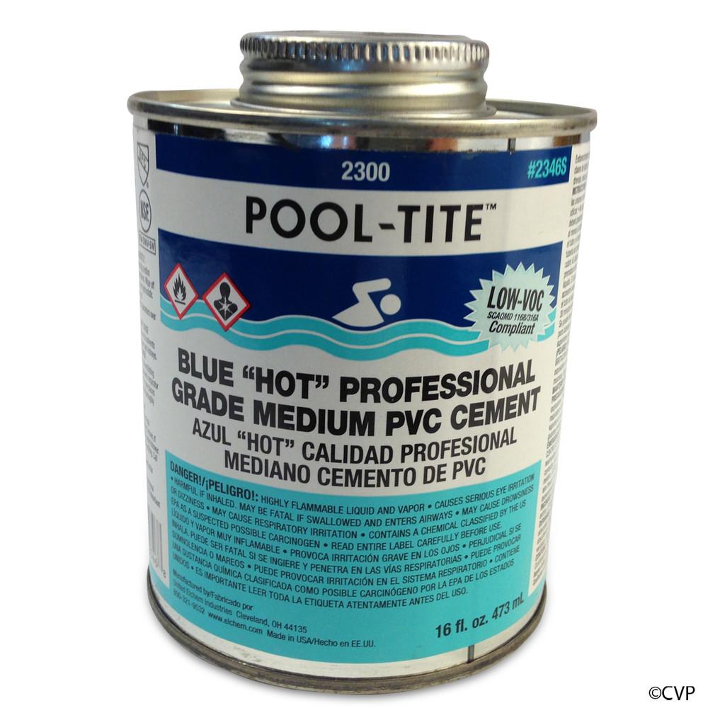 OATEY SUPPLY PVC GLUE | GLUE BLUE 1 PINT | POOL-TITE  | POOL PROFESSIONAL NO PRIMER NEEDED, UNDERWATER PVC GLUE | 2346S POOL-TITE