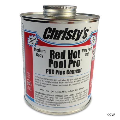 CHRISTY | 1QT POOL PRO PVC CEMENT LV | RED HOT GLUE | RH.POOL.QT